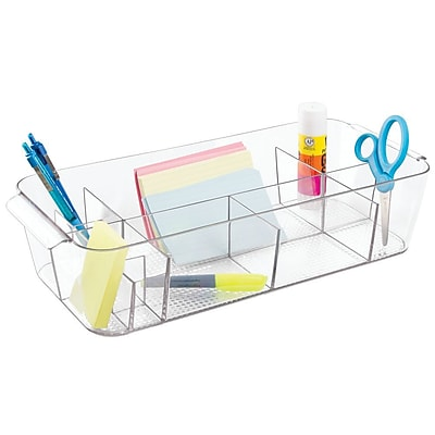 InterDesign Clarity Organizer Tote for Desk, Cabinet or Vanity to Hold Office Supplies (35970)