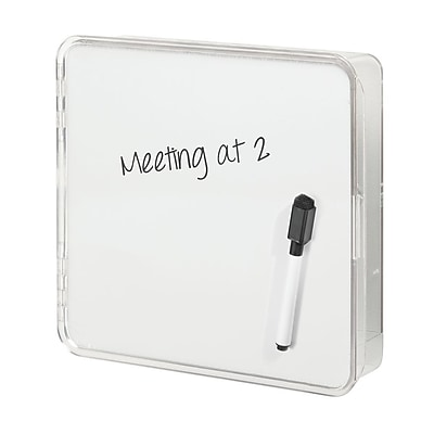 InterDesign Linus Key Organizer Holder with Dry Erase Board for Entryway, Kitchen Wall Mount, Clear/White (51240)
