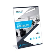 """Adir Office 5""""W x 7""""H Clear Acrylic Slanted Side-Loading Sign Holder, 3 Pack (639-57-3)"""