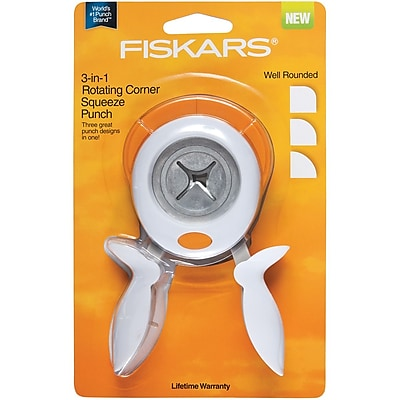 Fiskars FRCSP-15852 3-In-1 Corner Squeeze Punch-Well Rounded