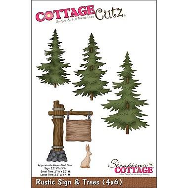 CottageCutz 4X6039 CottageCutz Die-Rustic Sign & Trees 2.2