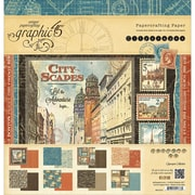 """Graphic 45 G4501312 Graphic 45 Double-Sided Paper Pad 12""""X12"""" 24/Pkg-Cityscapes, 8 Designs/3 Each"""