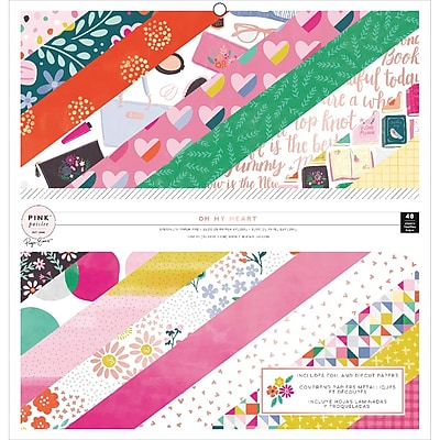American Crafts 310518 Pink Paislee Single-Sided Paper Pad 48/Pkg-Paige Evans Oh My Heart W/Foil & Die-Cut