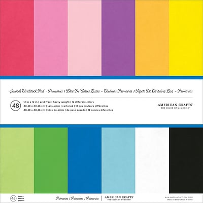 American Crafts AM71824 American Crafts Smooth Cardstock Pack 12