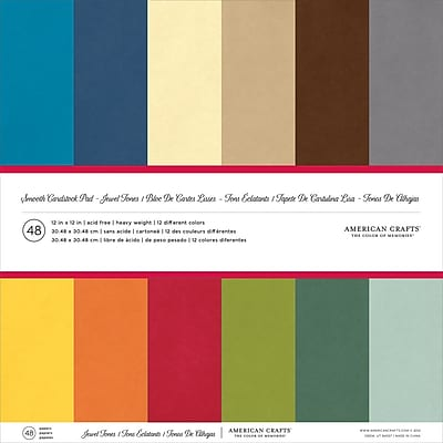 American Crafts AM71825 American Crafts Smooth Cardstock Pack 12