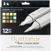Crafter's Companion SN-ILL12-LAND Spectrum Noir Illustrator Twin Tip Markers 12/Pkg-Landscape