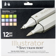 Crafter's Companion SN-ILL12-SKE Spectrum Noir Illustrator Twin Tip Markers 12/Pkg-Sketching