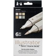 Crafter's Companion SPECN-IL-NEU Spectrum Noir Illustrator Twin Tip Markers 6/Pkg-Neutrals