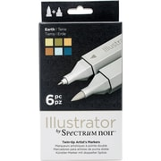 Crafter's Companion SPECN-IL-EAR Spectrum Noir Illustrator Twin Tip Markers 6/Pkg-Earth
