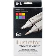 Crafter's Companion SPECN-IL-BAS Spectrum Noir Illustrator Twin Tip Markers 6/Pkg-Basics