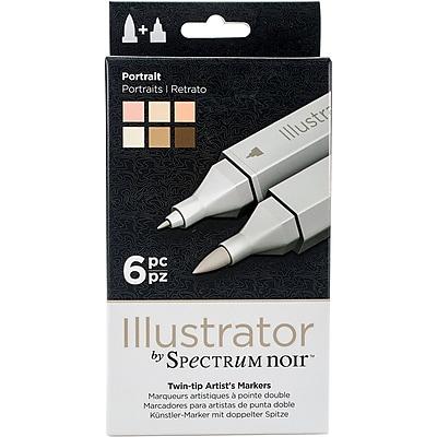 Crafter's Companion SPECN-IL-POR Spectrum Noir Illustrator Twin Tip Markers 6/Pkg-Portrait