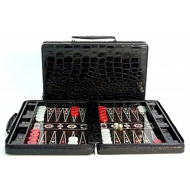 Worldwise Imports Black Vinyl Croc Zipper Case - Decoupage Wood Backgammon (WWI1948)