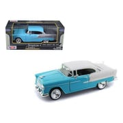 Motormax 1955 Chevrolet Bel Air Blue with Silver 1-24 Diecast Car Model (DTDP2032)