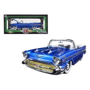 M2 1957 Chevrolet Bel Air Convertible Satin Blue with White Tom Kelly Special Edition 1-24 Diecast Model Car (DTDP1839)