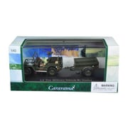Cararama 1 by 43 Diecast 0.25 Ton Military Army Vehicle with Trailer & Display Case Model Car (DTDP3008)