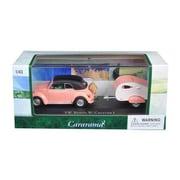 Cararama 1 by 43 Diecast Volkswagen Beetle Pink with Caravan I Trailer & Display Case Car Model (DTDP3005)