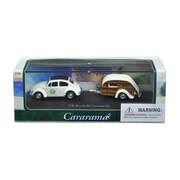 Cararama 1 by 72 Scale Diecast Volkswagen Beetle 53 with Caravan III Trailer in Display Showcase Model Car (DTDP3003)