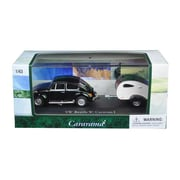 Cararama 1 by 43 Diecast Volkswagen Beetle Black with Caravan I Trailer & Display Case Car Model (DTDP3007)