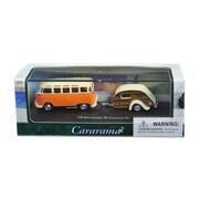 Cararama 1 by 72 Scale Diecast Volkswagen Bus Samba Orange with Caravan III Trailer in Display Showcase Model Car (DTDP3004)