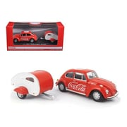 Motorcity Classics 1 by 43 Diecast 1967 Volkswagen Beetle Coca Cola with Teardrop Trailer Model Car (DTDP2843)