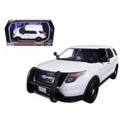 Motormax 2015 Ford Police Interceptor Utility Car Slick Top White 1-24 Diecast Model Car (DTDP752)