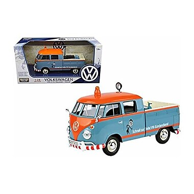 Motormax Volkswagen Type 2 Delivery Pickup Truck Kundendienst Diecast Model Car for 1-24 Scale, Blue & Orange (DTDP3868)