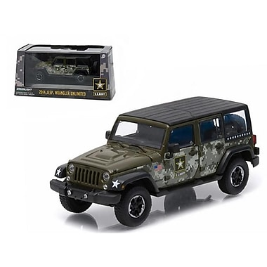 Greenlight 2014 Jeep Wrangler Unlimited U.S. Army Hard Top Dark Green with Display Showcase 1-43 Diecast Model Car (DTDP1559)