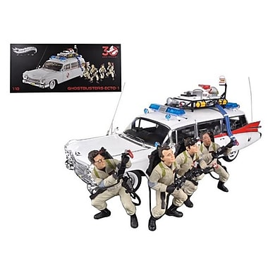 Hot wheels 1959 Cadillac Ambulance Ecto-1 From Ghostbusters 1 Movie 30th Anniversary w/ 4 Figures Elite Edition 1-18 (DTDP1915)