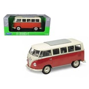 Welly 1963 Volkswagen Microbus T1 Bus Red 1-18 Diecast Model Car (DTDP2060)