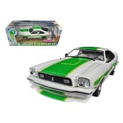 Greenlight 1978 Ford Mustang II Cobra II Free Wheelin White with Green Billboard Stripes 1-18 Diecast Car Model (DTDP2112)