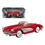 Motormax 1958 Chevrolet Corvette Convertible Red 1-18 Diecast Model Car (DTDP438)