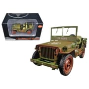 American Diorama 1 by 18 Scale Diecast US Army WWII Jeep Vehicle Green Weathered Version Model Car (DTDP2989)