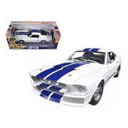 Greenlight 1967 Ford Shelby Mustang GT 500 White with Blue Stripes 1-18 Diecast Model Car (DTDP480)