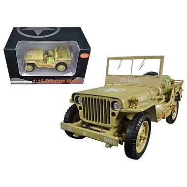 American Diorama 1 by 18 Scale Diecast US Army WWII Jeep Vehicle Desert Color Model Car (DTDP3055)