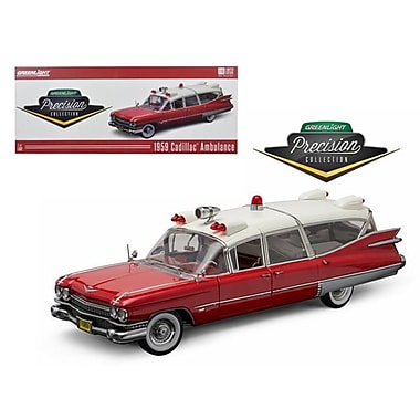Greenlight 1 by 18 Scale Diecast 1959 Cadillac Ambulance Red & White Precision Collection Model Car (DTDP2974)