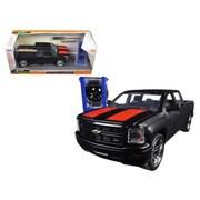 Jada 2014 Chevrolet Silverado Pickup Truck Matt Black Just Trucks with Extra Wheels 1-24 Diecast Model (DTDP1641)