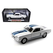 Shelby Collectibles 1966 Ford Shelby Mustang GT 350 White with Blue Stripes 1-18 Diecast Car Model (DTDP1049)