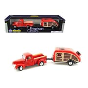 Motormax 1940 Ford Pickup Truck Red with Tear Drop Trailer 1-24 Diecast Model (DTDP2074)