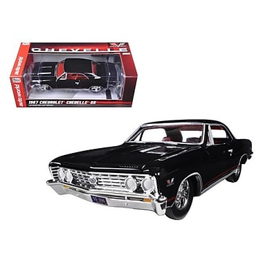 Autoworld 1967 Chevrolet Chevelle SS 396 Tuxedo Black with Red Stripes 1-24 Diecast Model Car (DTDP1809)