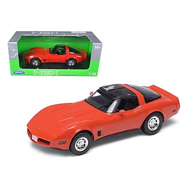Welly 1 by 18 Scale Diecast 1982 Chevrolet Corvette Red Model Car (DTDP2919)
