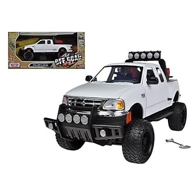 Motormax 2001 Ford F-150 XLT Flareside Supercab Pickup Truck Off Road White 1-24 Diecast Model (DTDP641)