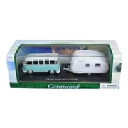 Cararama 1 by 43 Diecast Volkswagen Bus Samba with Caravan II Trailer in Display Case Car Model (DTDP2907)