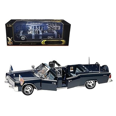 Road Signature 1961 Lincoln X-100 Kennedy Limousine Blue with Flags 1-24 Diecast Model Car (DTDP2064)