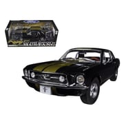 Greenlight 1967 Ford Mustang Coupe Black with Gold Stripes 1-18 Diecast Car Model (DTDP527)