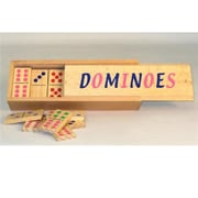 Square Root 3 x 1.5 x 0.25 in. Wood Dominoes Double 6 Color Dot Oversized Domino (WWI23628)