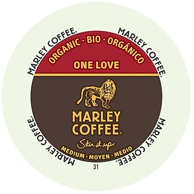 Marley Coffee One Love Medium Organic, RealCup portion pack for Keurig K-Cup Brewers, 192 Count (4690002)