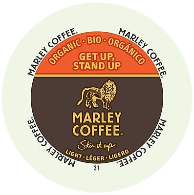 Marley Coffee Get Up Stand Up Light Organic, RealCup portion pack for Keurig K-Cup Brewers, 96 Count (4690001)