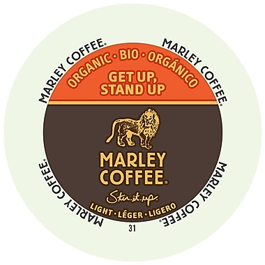 Marley Coffee Get Up Stand Up Light Organic, RealCup portion pack for Keurig K-Cup Brewers, 192 Count (4690001)