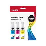 Canon GI-20 Cyan/Magenta/Yellow Standard Yield Ink Cartridge, 3/Pack (3394C003)