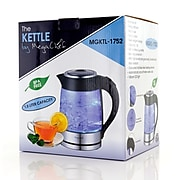 Mega Chef Glass/Stainless Steel Electric Tea Kettle, 1.8 Liter, Black/Silver (93596270M)